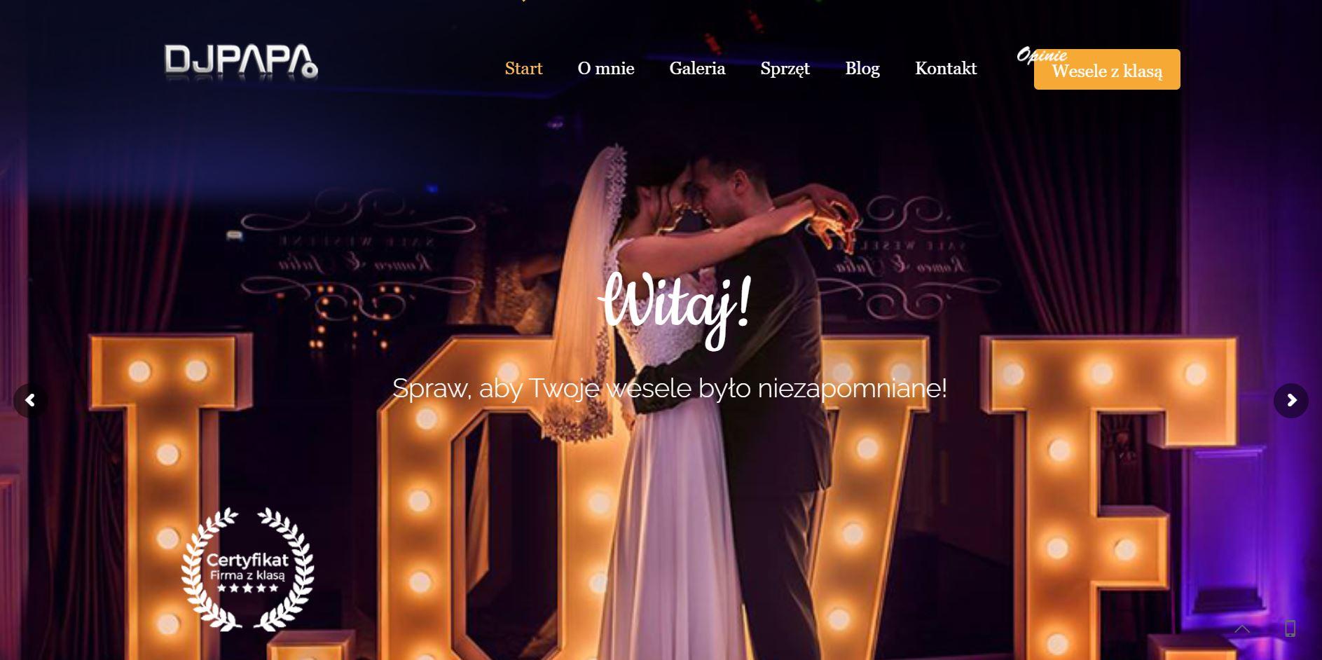 strona internetowa djpapa - portfolio
