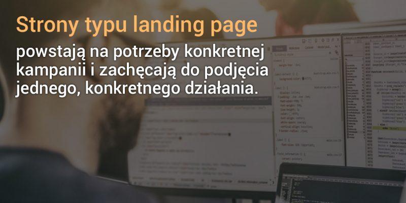 Strona landing page na ekranie komputera