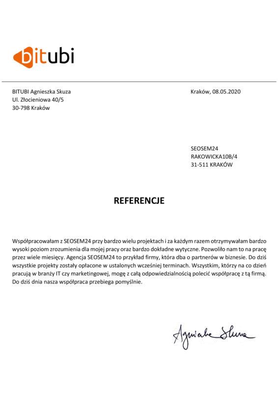 Bitubi referencje dla seosem24.pl