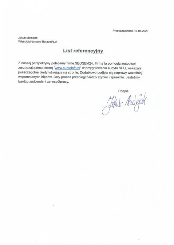BurzeInfo referencje dla seosem24.pl