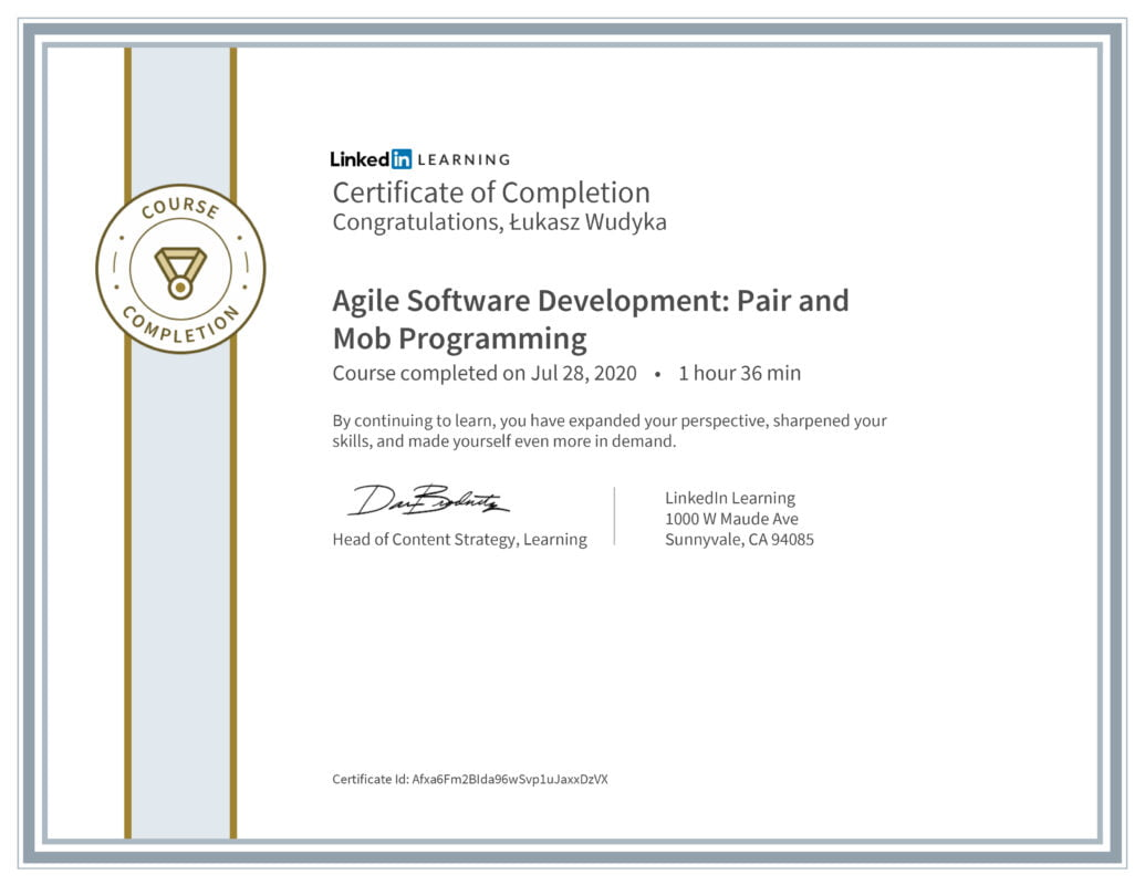 Łukasz Wudyka opinie o platformach szkoleniowych - Linkedin LEARNING - Agile Software Development: Pair and Mob Programming