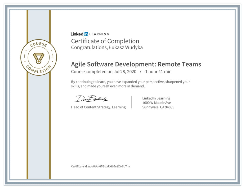 Łukasz Wudyka opinie - Linkedin LEARNING - Agile Sofware Development: Remote Teams