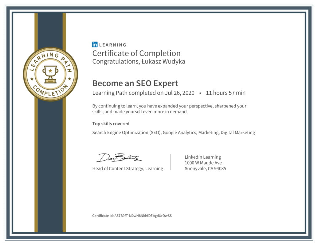 Łukasz Wudyka opinie - Linkedin LEARNING - Become an SEO Expert