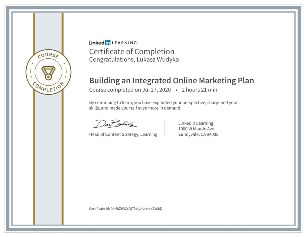 Łukasz Wudyka opinie - Linkedin LEARNING - Building an Integrated Online Marketing Plan