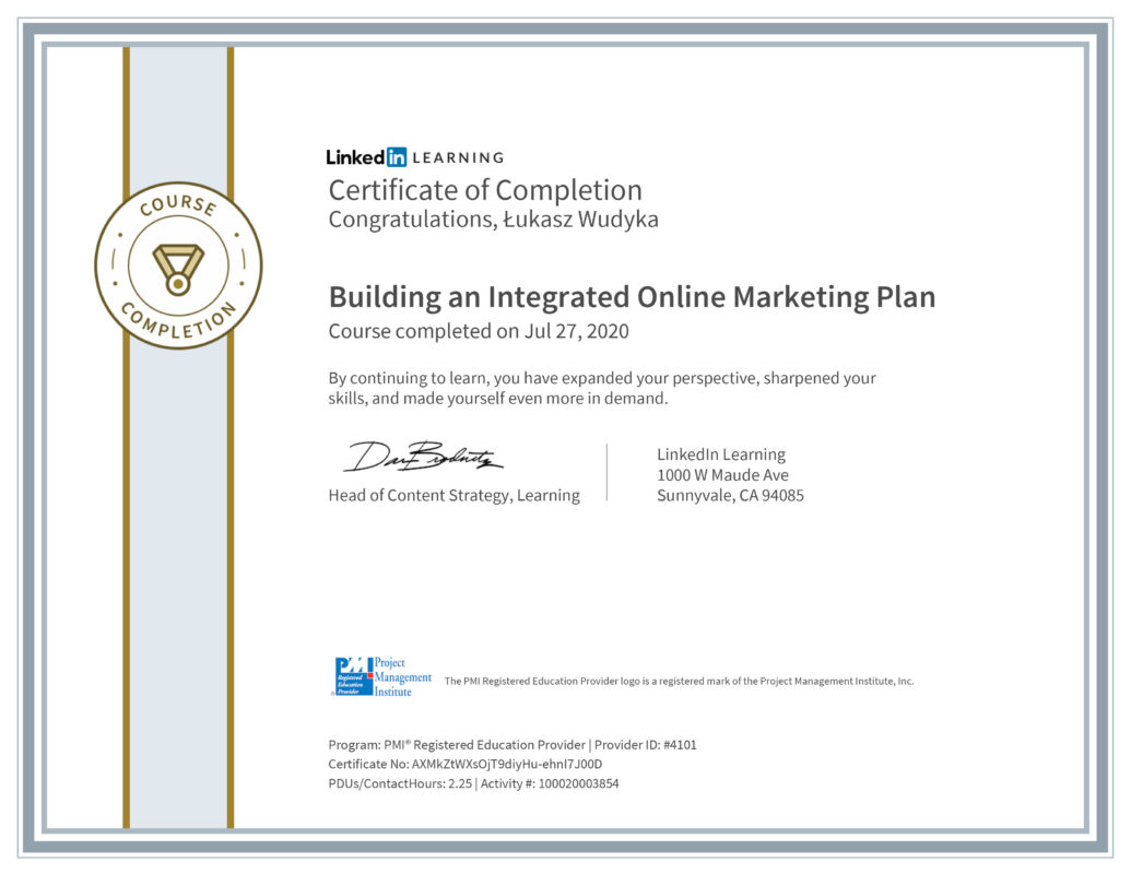 Łukasz Wudyka opinie - Linkedin LEARNING - Building an Integrated Online Marketing Plan MPI