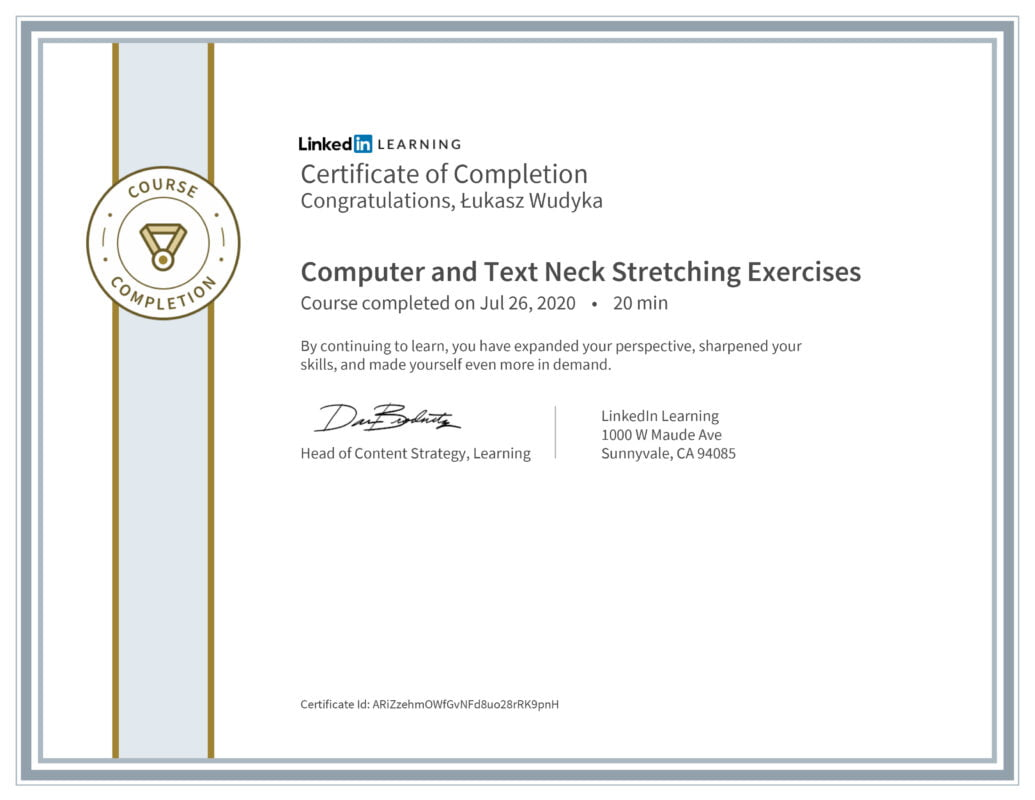 Łukasz Wudyka opinie - Linkedin LEARNING - Computer and Text Neck Stretching Exercises