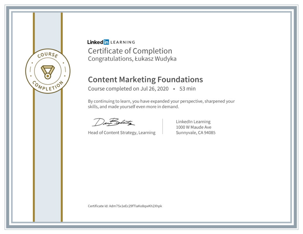 Łukasz Wudyka opinie - Linkedin LEARNING - Content Marketing Foundations