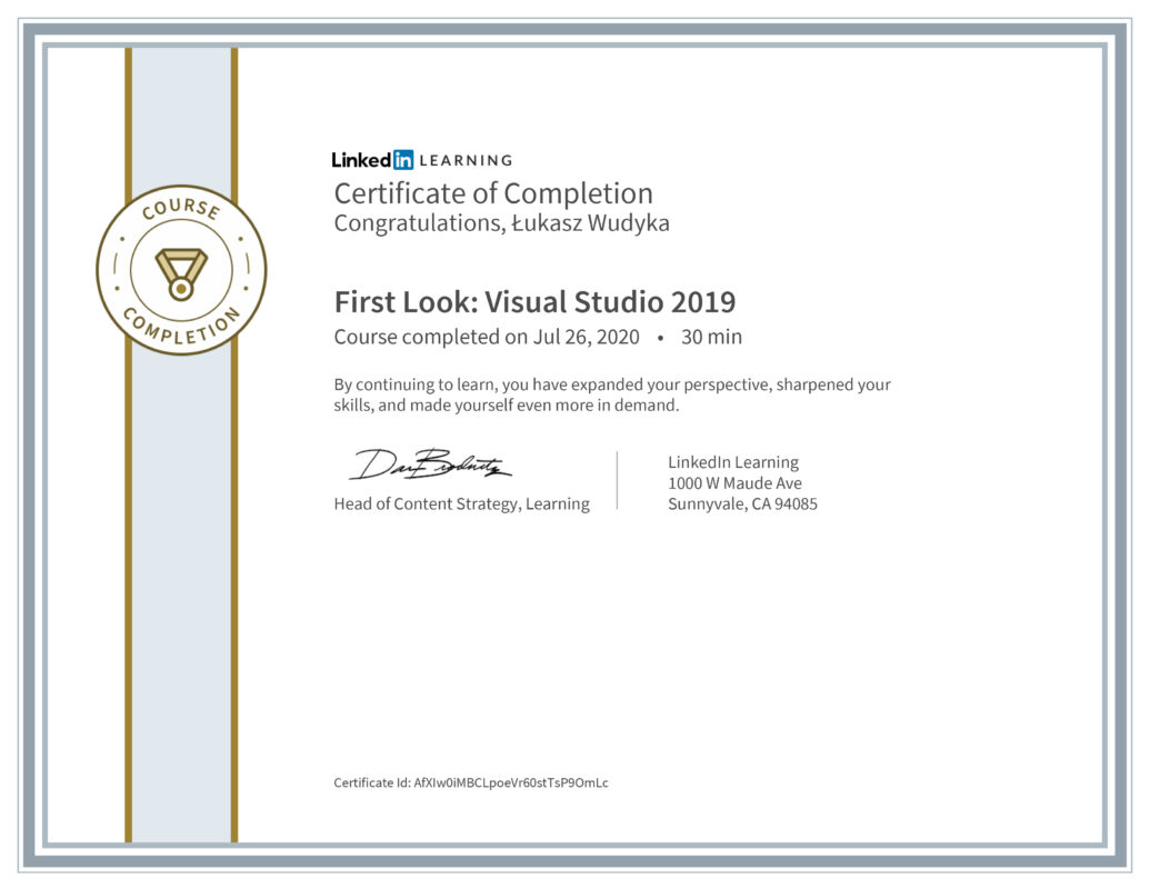 Łukasz Wudyka opinie - Linkedin LEARNING - First Look: Visual Studio 2019