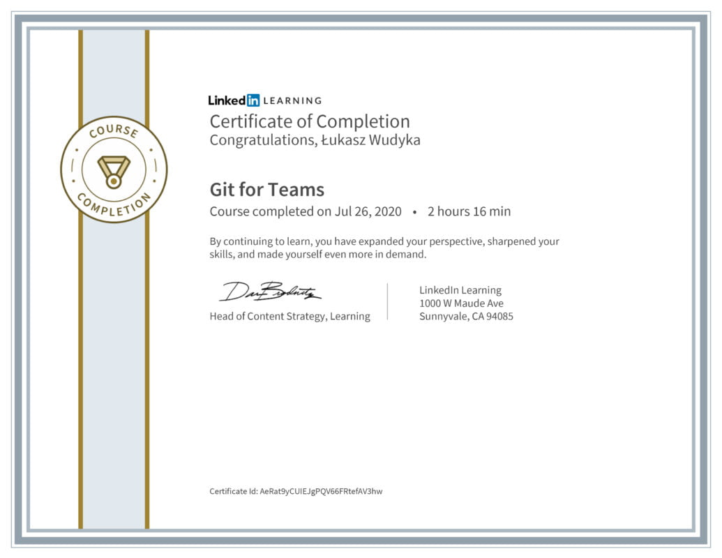 Łukasz Wudyka opinie - Linkedin LEARNING - Git for Teams