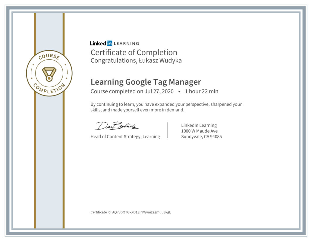 Łukasz Wudyka opinie - Linkedin LEARNING - Learning Google Tag Menager