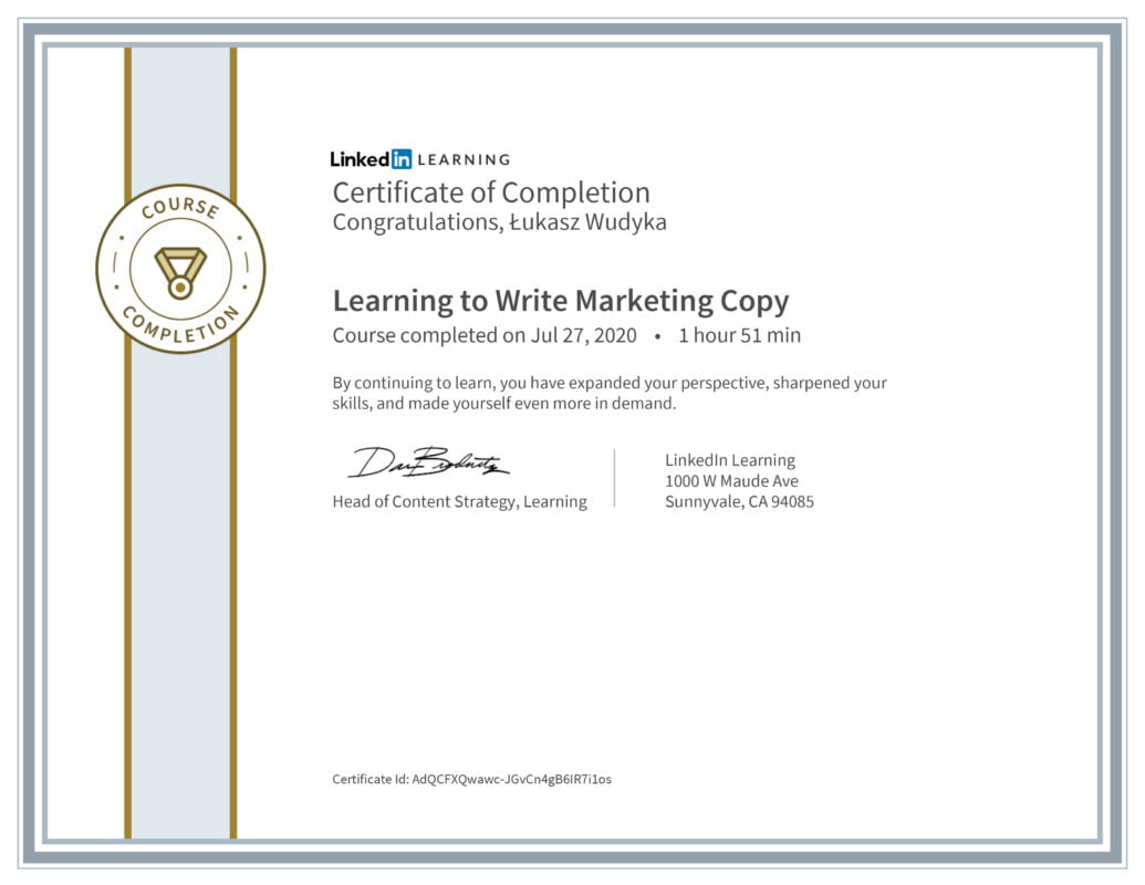 Łukasz Wudyka opinie - Linkedin LEARNING - Learning to Write Marketing Copy