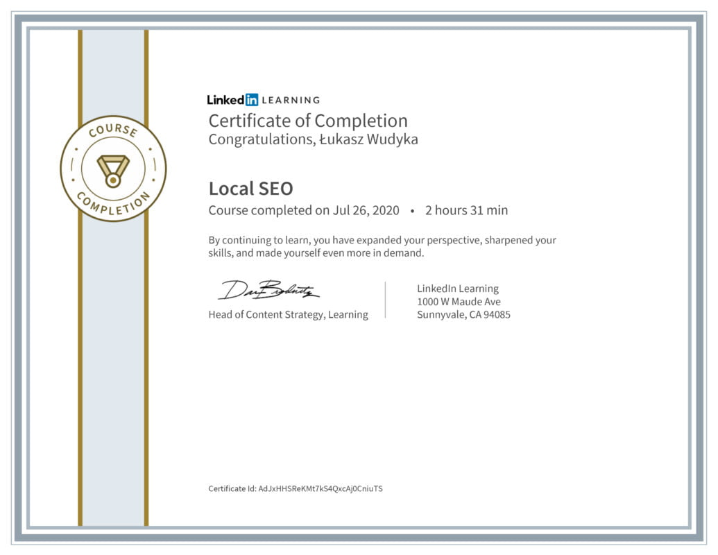 Łukasz Wudyka opinie - Linkedin LEARNING - Local SEO