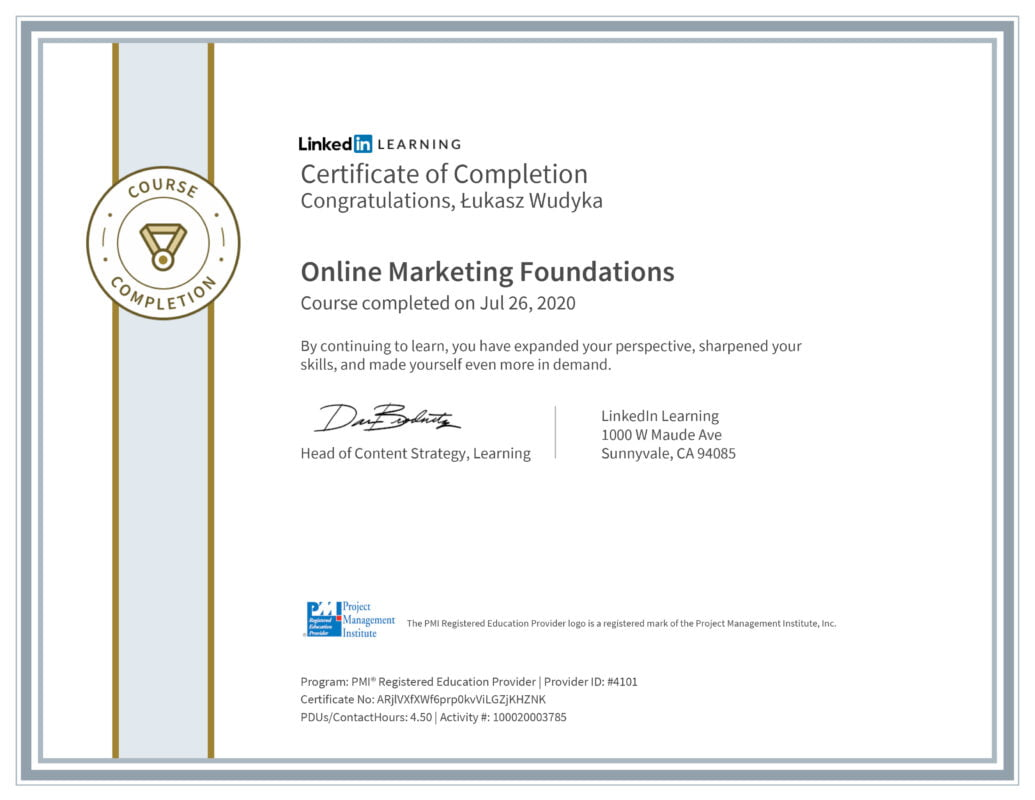 Łukasz Wudyka opinie - Linkedin LEARNING - Online Marketing Foundations MPI