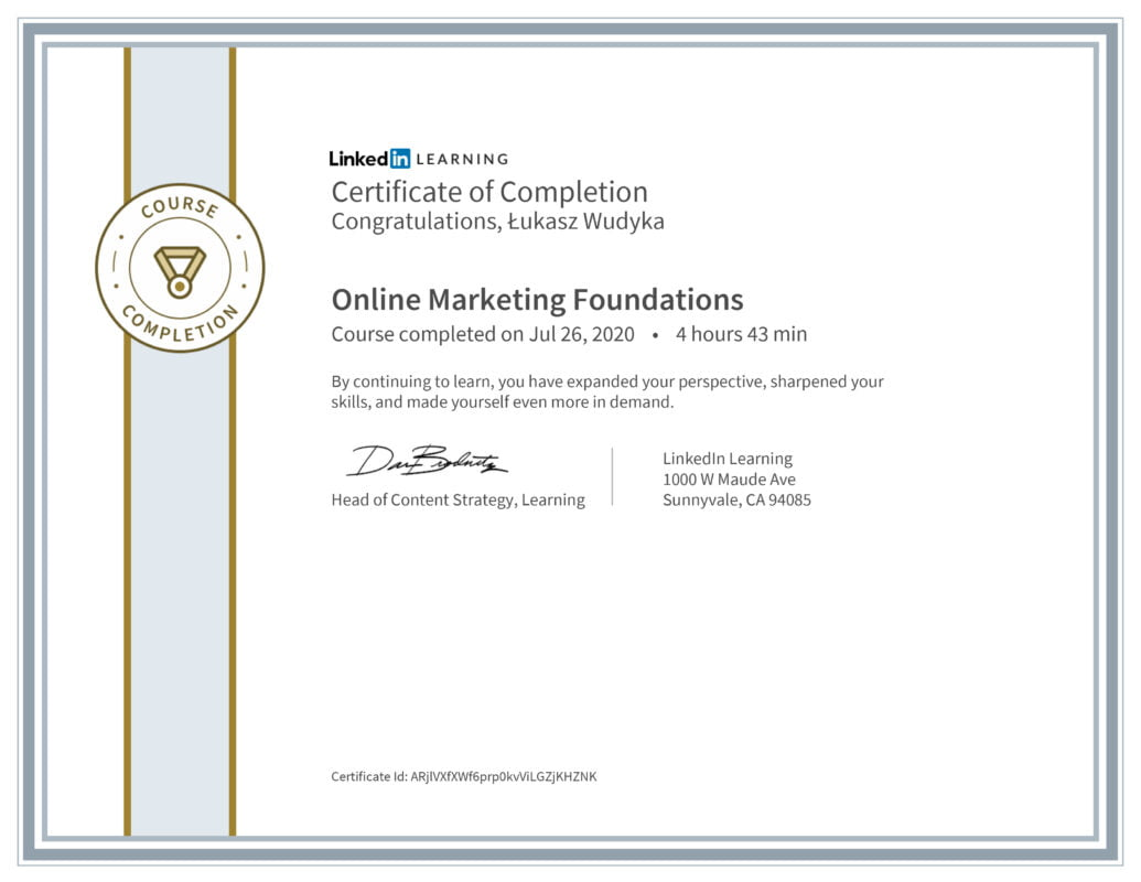 Łukasz Wudyka opinie - Linkedin LEARNING - Online Marketing Foundations