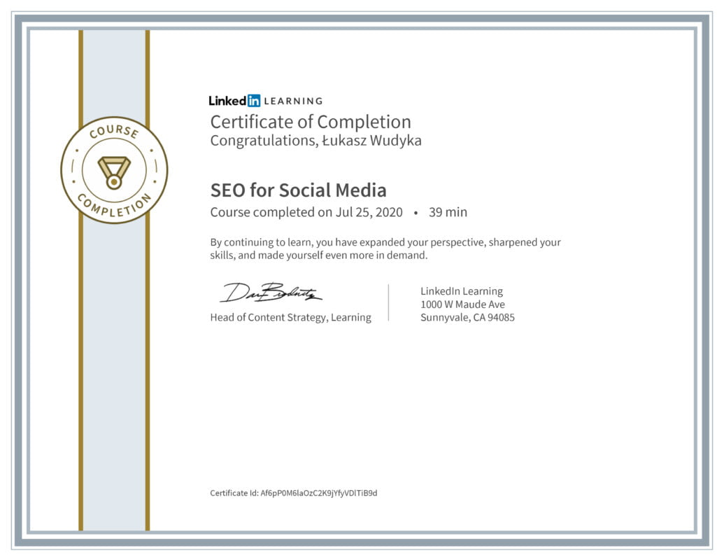 Łukasz Wudyka opinie - Linkedin LEARNING - SEO for Social Media