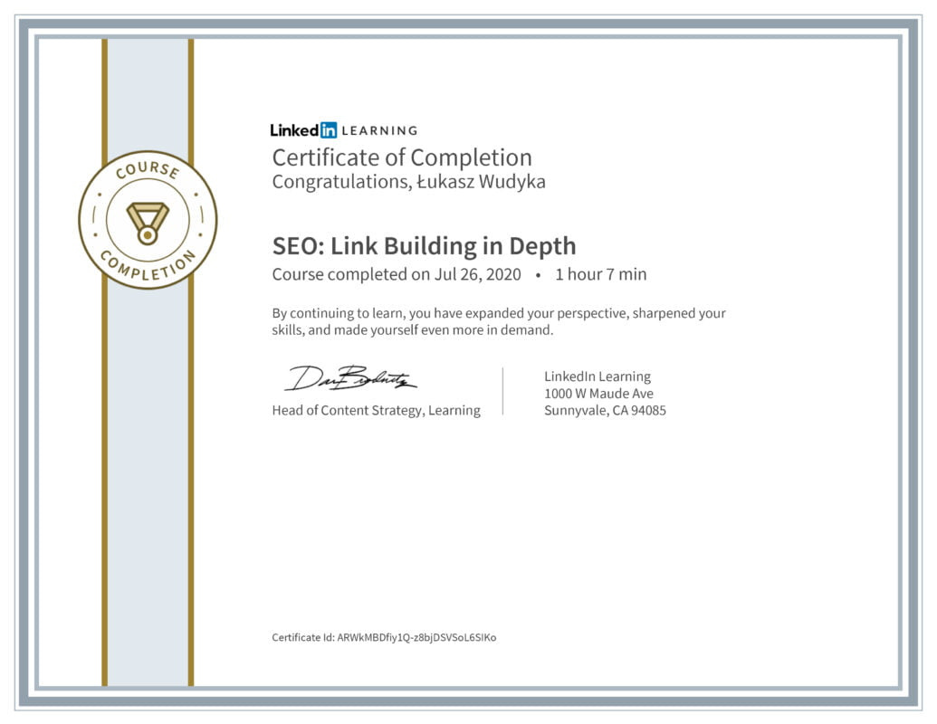 Łukasz Wudyka opinie - Linkedin LEARNING - SEO: Link Building in Depth