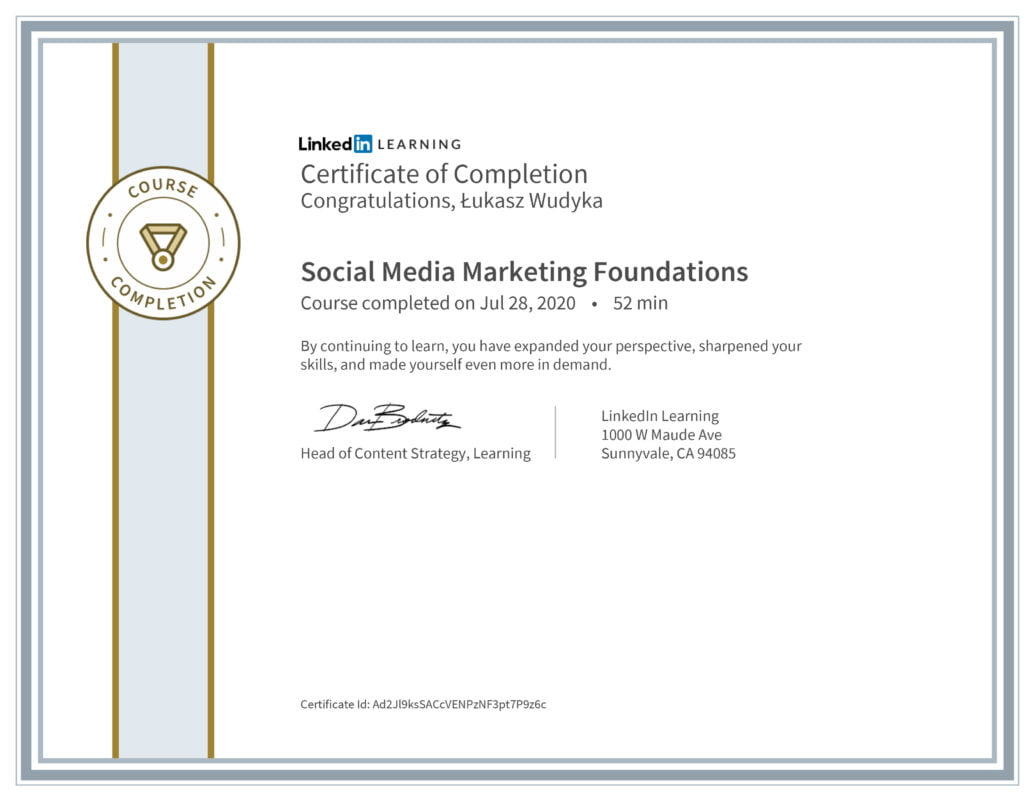 Łukasz Wudyka opinie - Linkedin LEARNING - Social Media Marketing Foundations