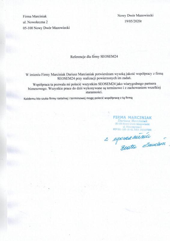 Marciniak referencje dla seosem24.pl