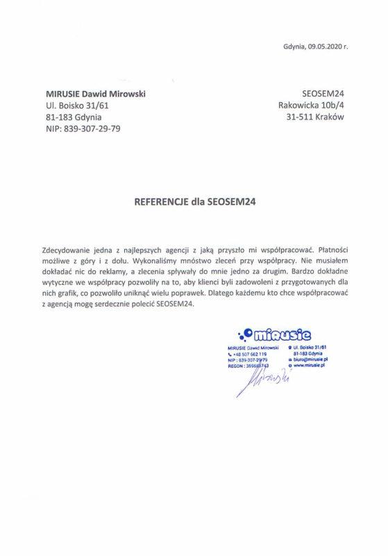 Mirusie referencje dla seosem24.pl