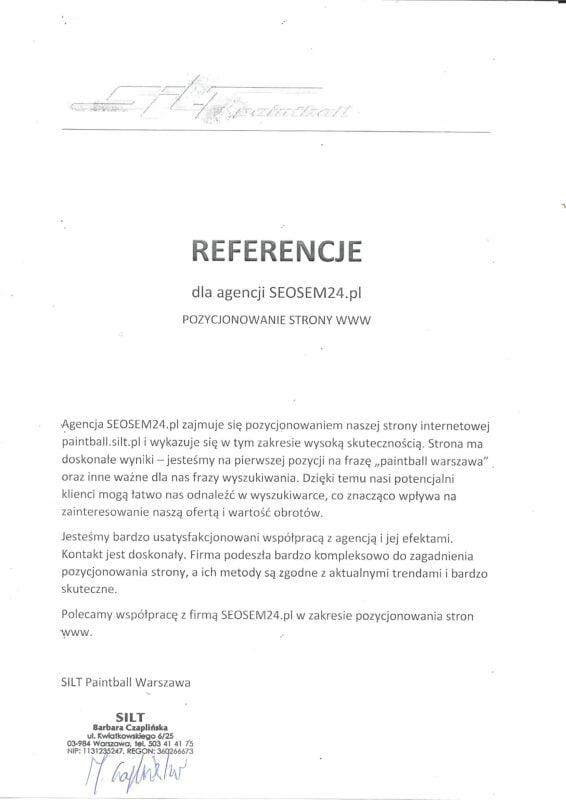 Silt Painball - referencje dla Seosem24