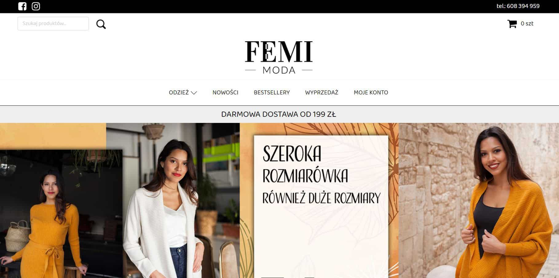 Sklep FEMI MODA - Portfolio SEOSEM24