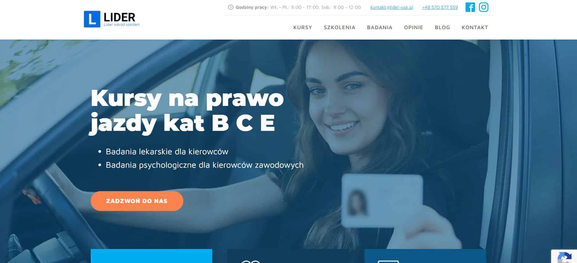 Strona internetowa Lider OSK - Portfolio SEOSEM24